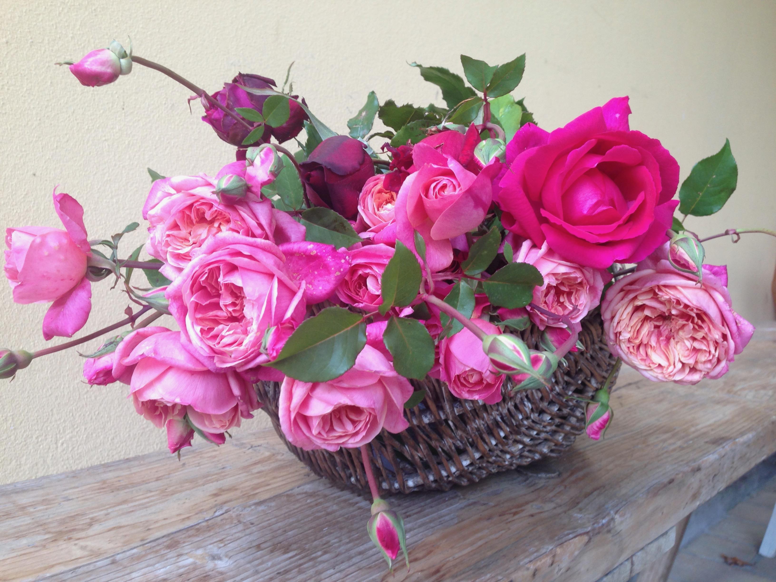 cesto con rose